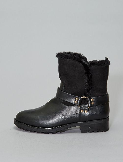 Boots fourrées type cavalier                             noir