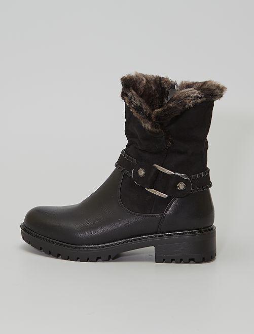 Boots fourrées type 'Chelsea'                             noir