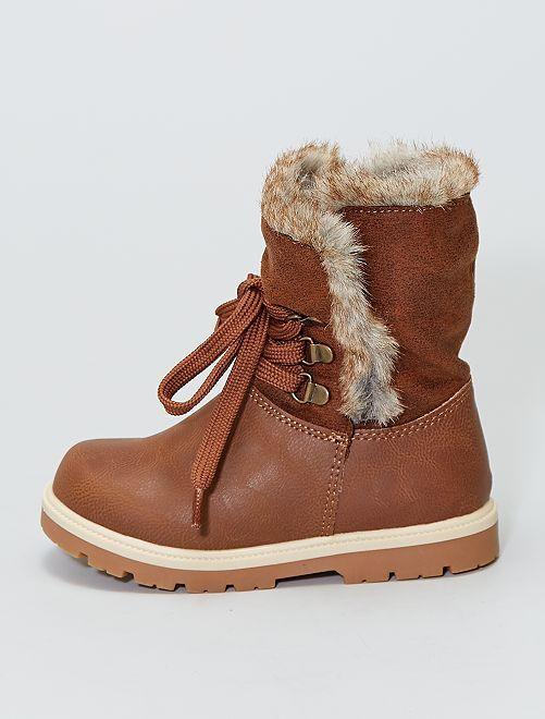 Boots imperméables fourrées en suédine                             marron