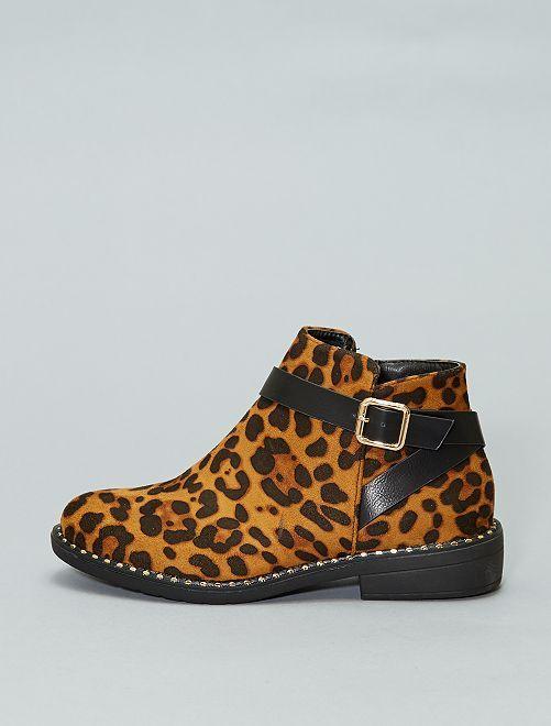 Boots léopard à talons                             marron Femme