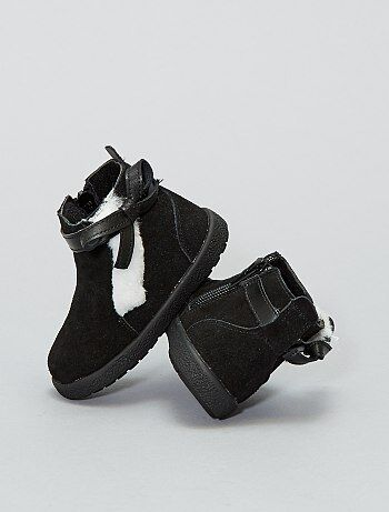 Chaussures - Boots montantes en cuir - Kiabi