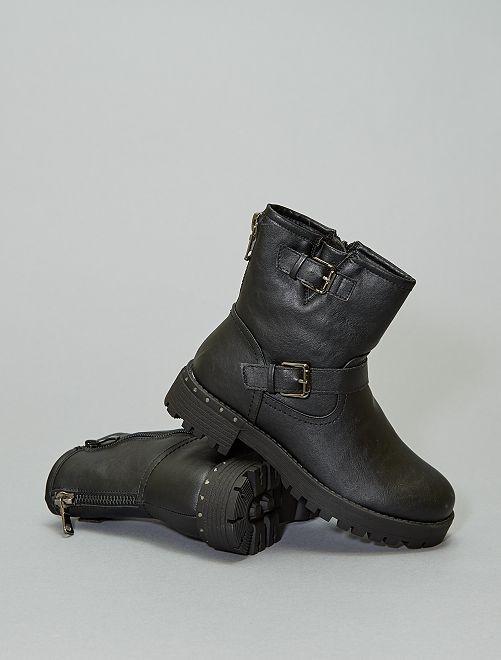Boots motardes talons strass                             noir