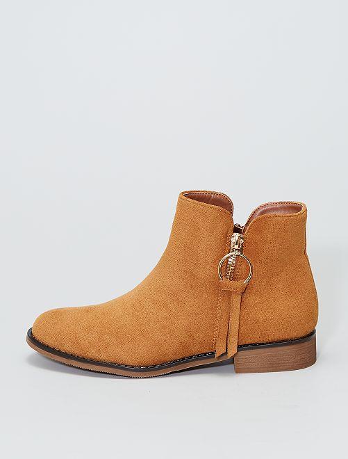 Boots ouvertures dorées                     camel
