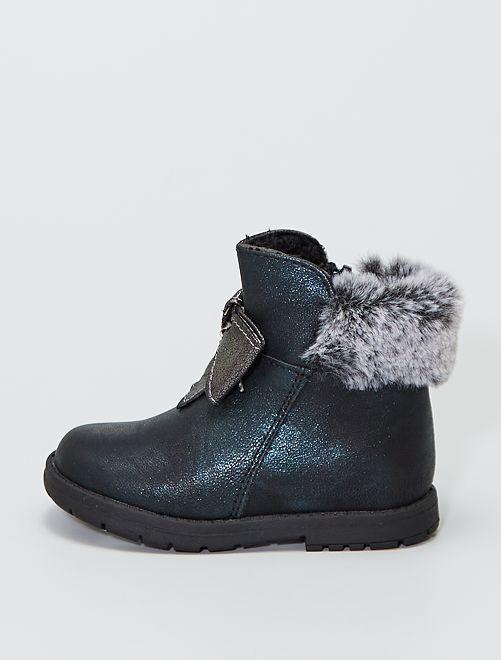 Boots pailletées avec nœuds fantaisies                             noir