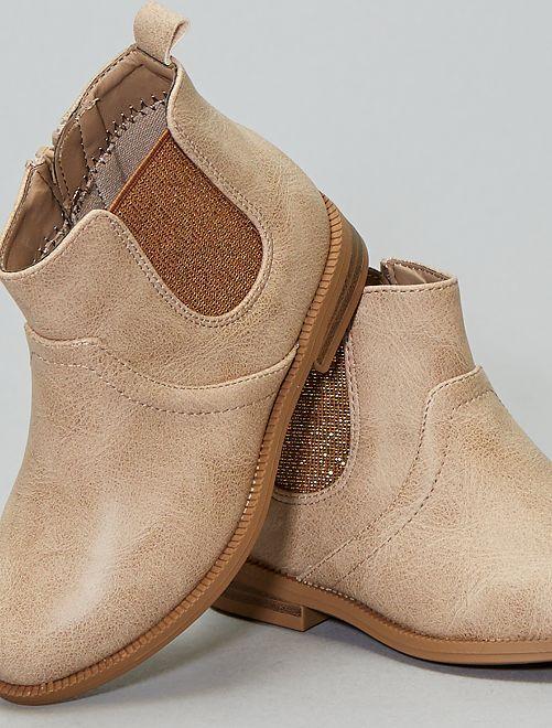 Boots soufflets brillants                                                                 beige