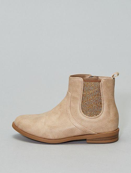 Boots soufflets brillants                                                                 beige Chaussures