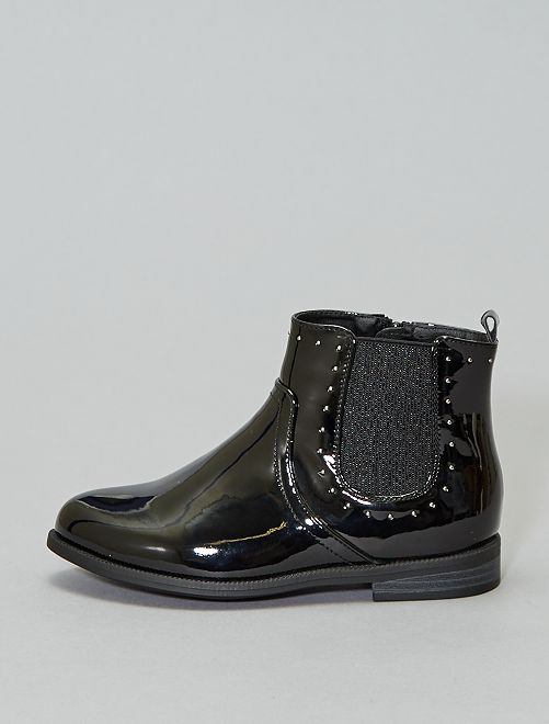 Boots soufflets brillants                                                                 noir verni