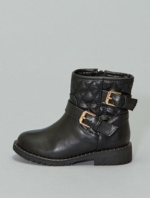 Boots style biker matelassées                             noir