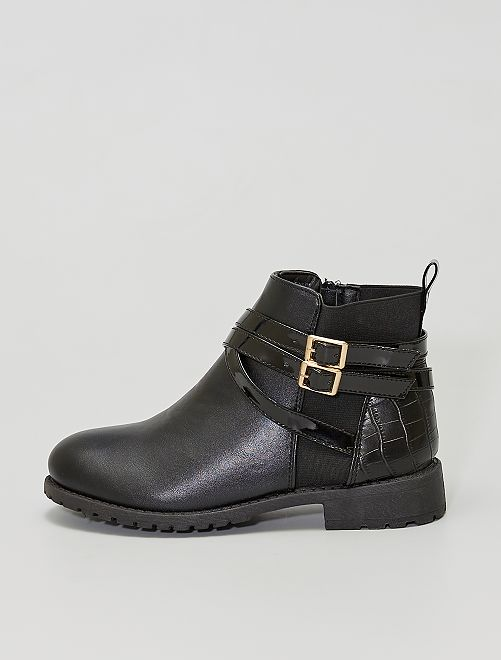 Boots style 'chelsea' à brides                             noir