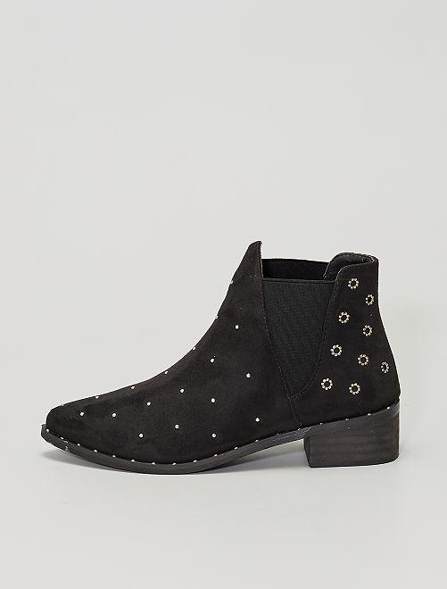 Boots style 'chelsea' cloutées                             noir