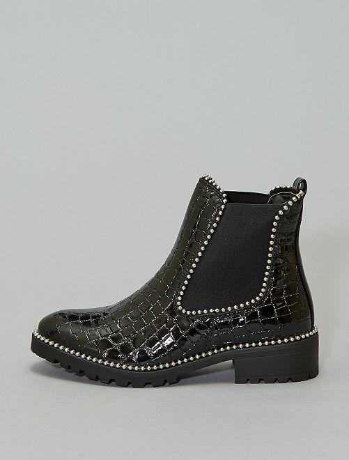 Boots style 'Chelsea' effet croco verni                             noir