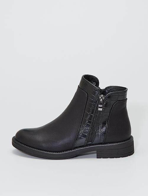 Boots style 'Chelsea' en simili texturé                                         noir