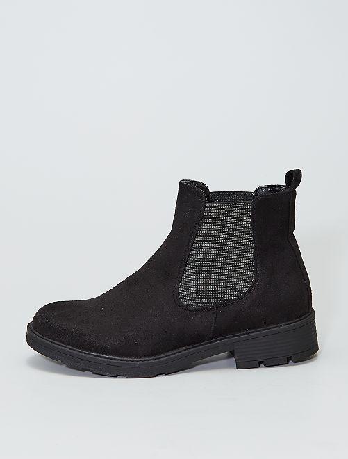 Boots style 'Chelsea' soufflets brillants                             noir