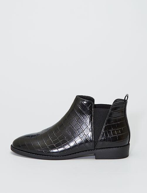 Boots style 'Chelsea' style croco                                         noir
