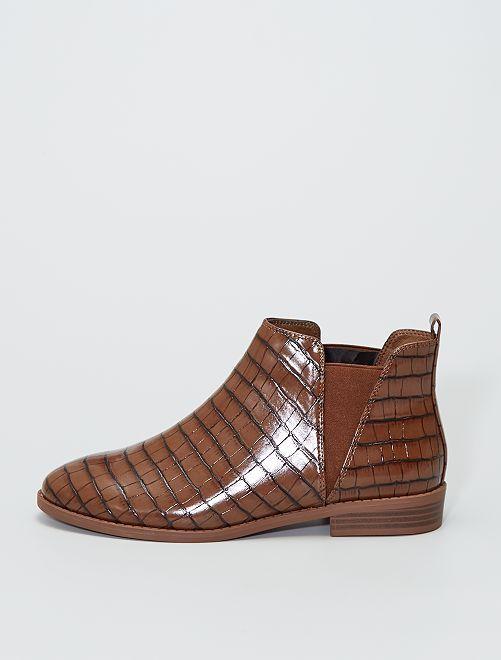 Boots style 'Chelsea' style croco                                         orange