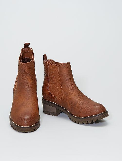 Boots style 'Chelsea' texturées                             brun