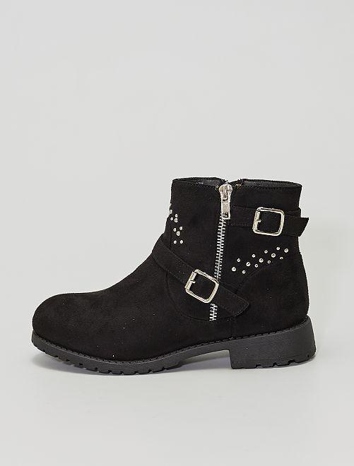 Boots style motard en suédine                             noir
