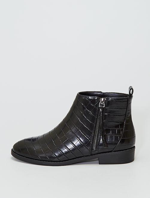 Boots style 'peau de crocodile'                             NOIR