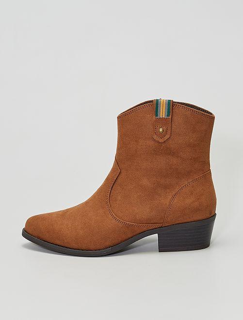 Boots style western en suédine                             marron clair