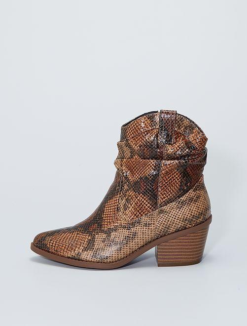 Boots style western 'peau de serpent'                             brun