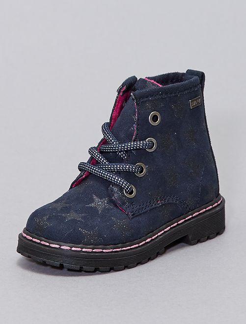 Boots suédine motif étoilé                             bleu navy