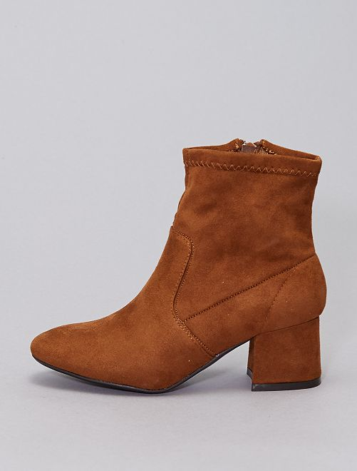 Boots talons carrés                             camel