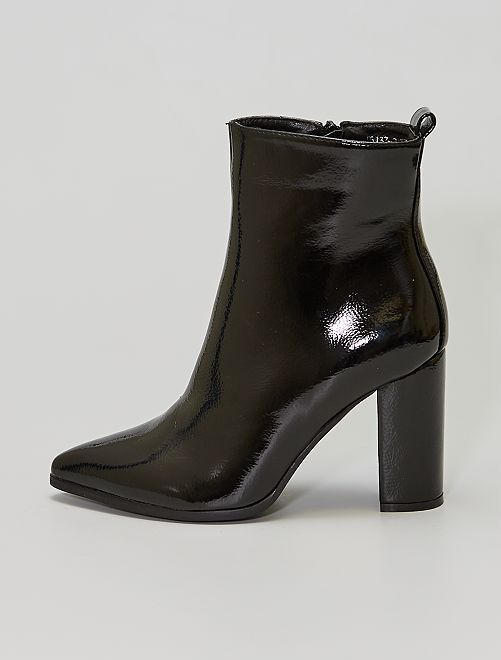 Boots talons hauts                             noir verni