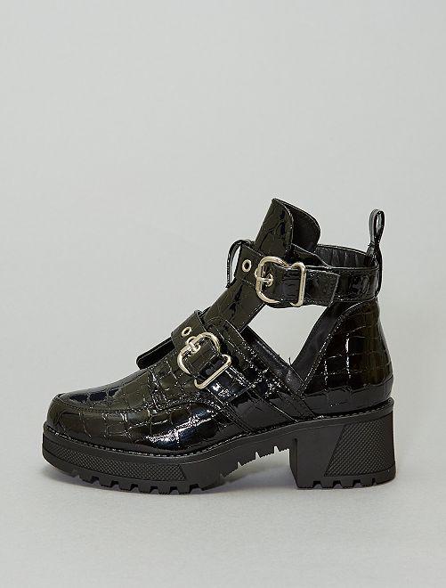 Boots texturées écailles                             noir