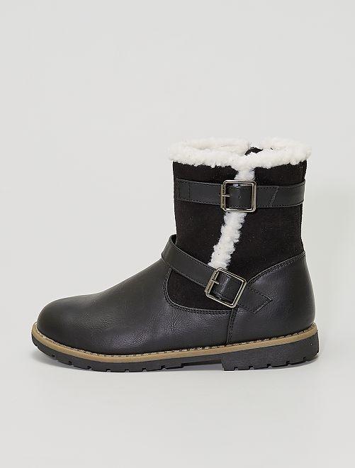 Boots type motarde fourrées                                         noir