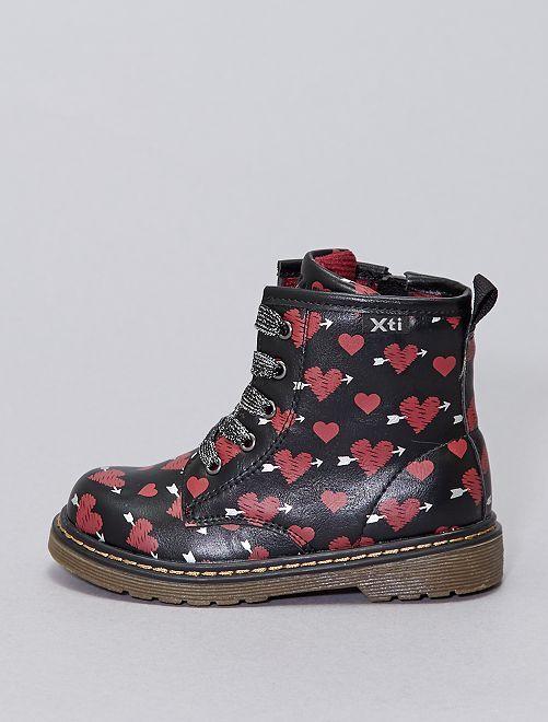 Boots type rangers imrpimées 'coeurs'                             noir