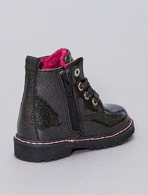 Boots type rangers pailletées                                         noir