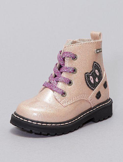 Boots type rangers pailletées                             rose