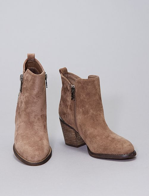 Boots type western à strass                             taupe
