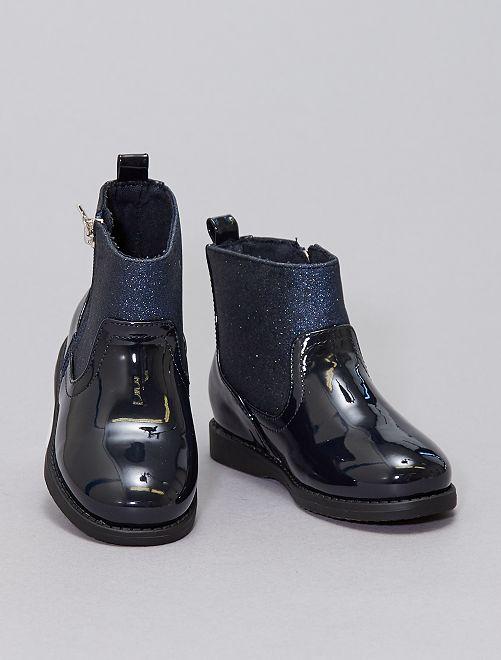 Boots vernies pailettées                             bleu nuit
