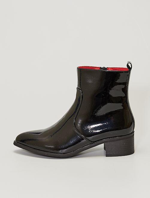 Boots vernies pointues                             noir verni