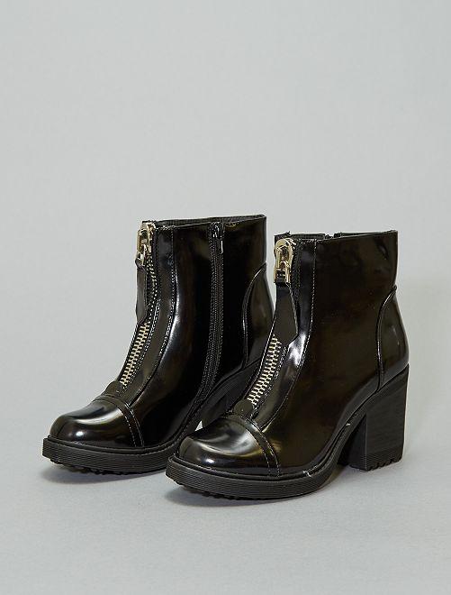 Boots vernis détail zippé                             noir