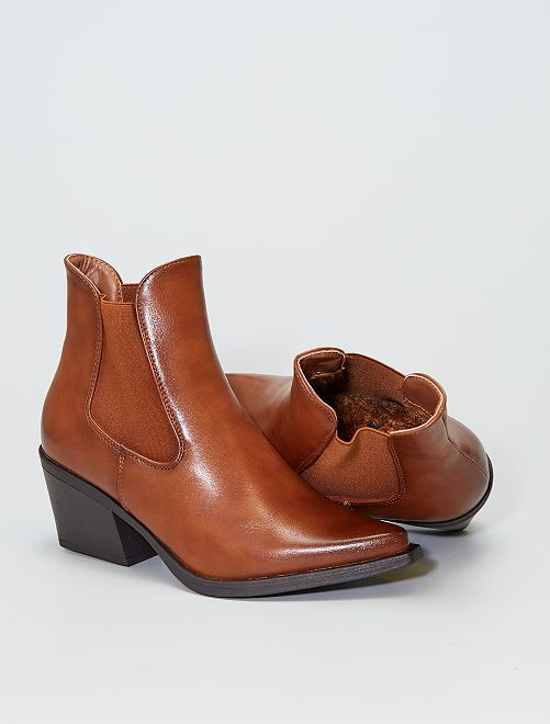 Boots westerns à talon                             camel