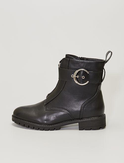 Boots zippées grande taille                             noir
