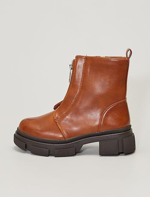 Boots zippées style ranger                                         marron clair