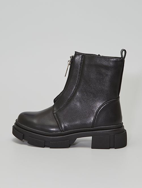 Boots zippées style ranger                                         noir