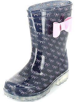 Chaussures fille - Bottes de pluie à semelles lumineuses