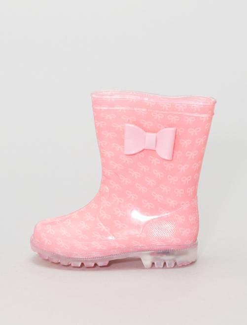 Bottes de pluie à semelles lumineuses                             rose/rose Fille