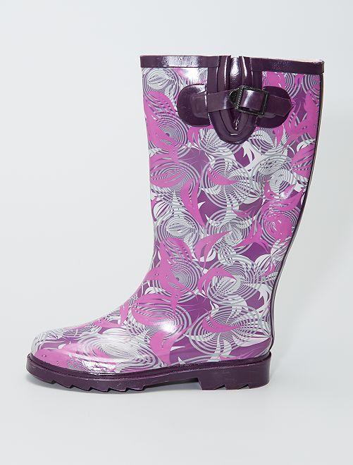 Bottes de pluie en caoutchouc imprimées spirales                             violet