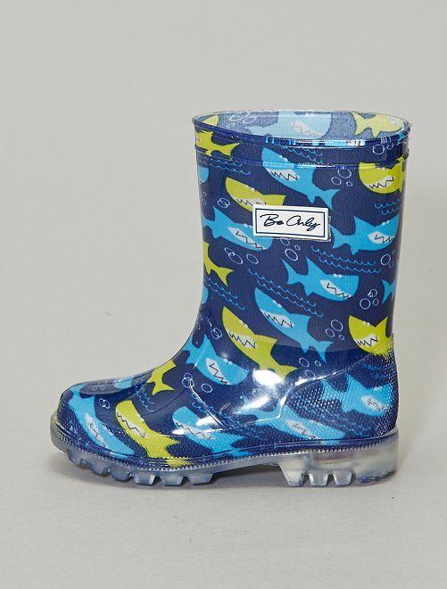 Bottes de pluie lumineuses 'requin'                             bleu