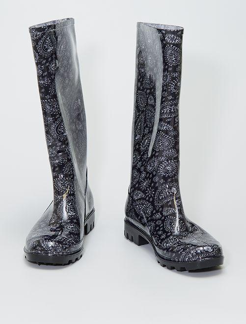 Bottes de pluie motif floral                             noir