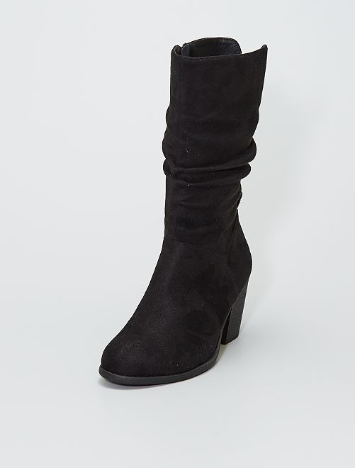 Bottes style cavalier en suédine                             noir