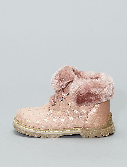 Bottines à lacet imprimé 'étoiles'                             rose Chaussures