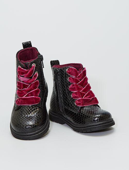 Bottines avec lacets en velours                             noir
