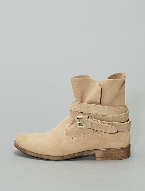 Bottines en cuir                             beige