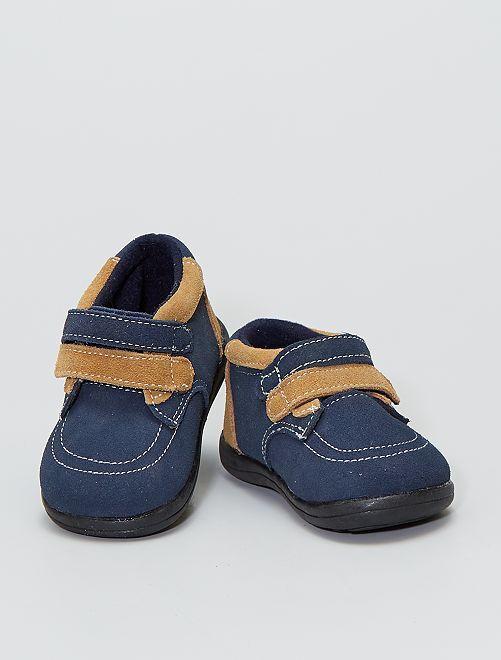 Bottines en cuir bicolore                             bleu navy